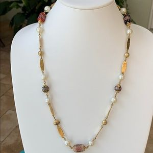 Murano Wedding cake glass bead necklace.